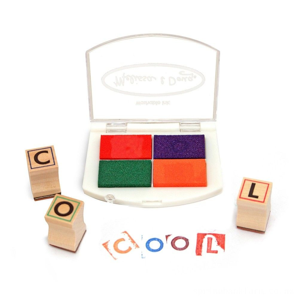 Melissa & Doug Wooden Alphabet Stamp Set - 56 Stamps With Lower-Case and Capital Letters Deal
