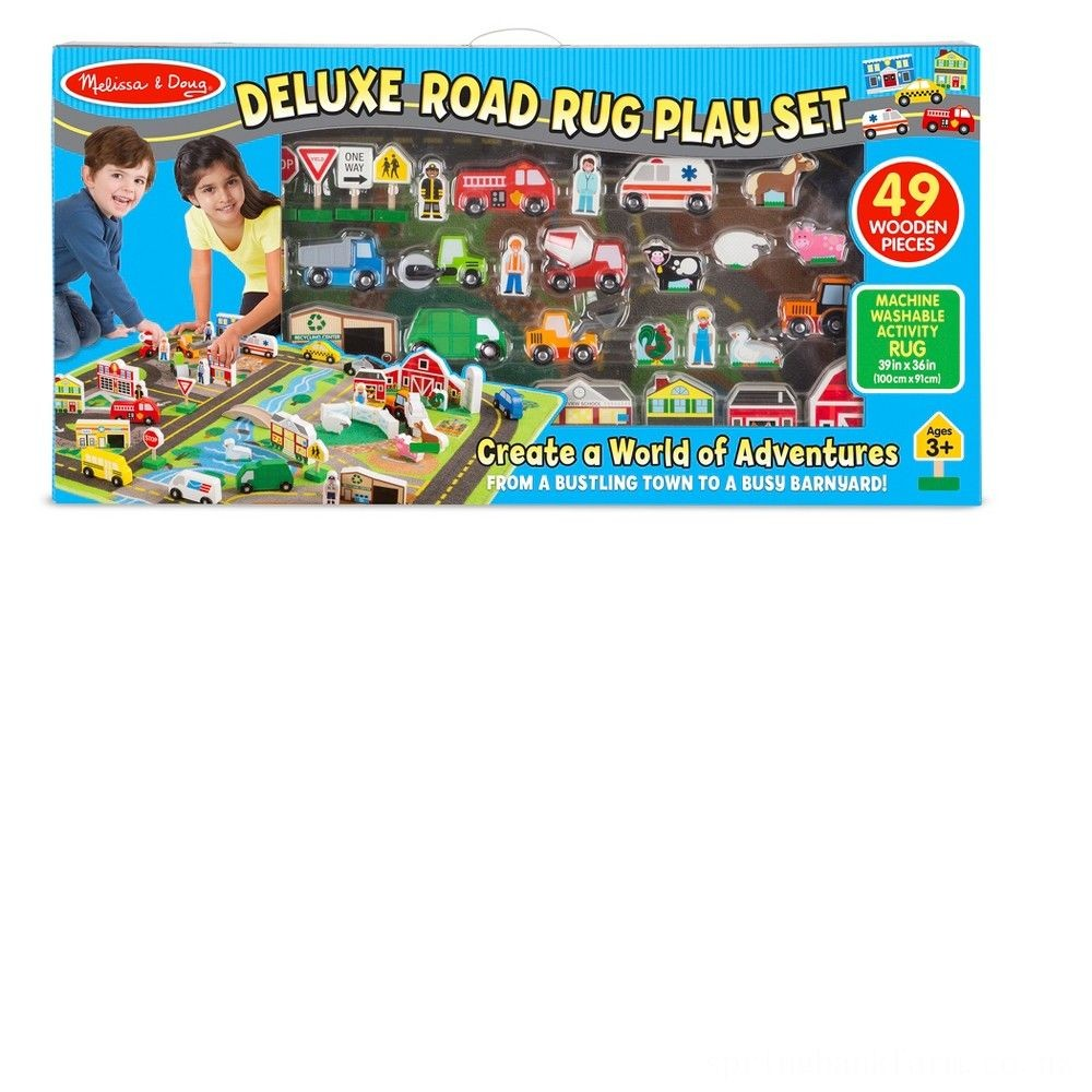 Melissa & Doug Deluxe Activity Road Rug Play Set with 49pc Wooden Vehicles and Play Deal