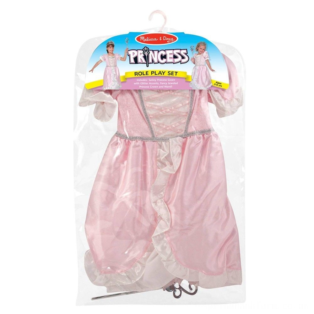 Melissa & Doug Princess Role Play Costume Set (3pc)- Pink Gown, Tiara, Wand, Women's, Size: Small Deal