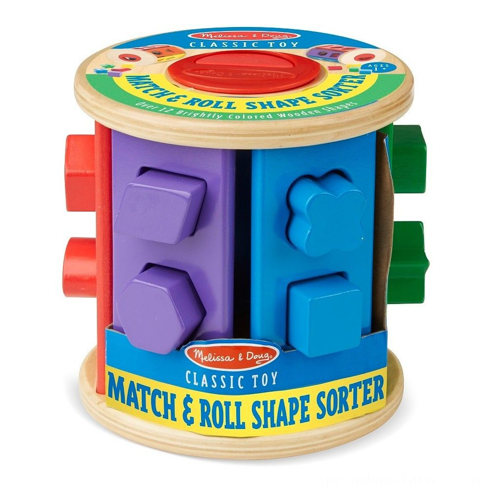 Melissa & Doug Match and Roll Shape Sorter - Classic Wooden Toy Deal