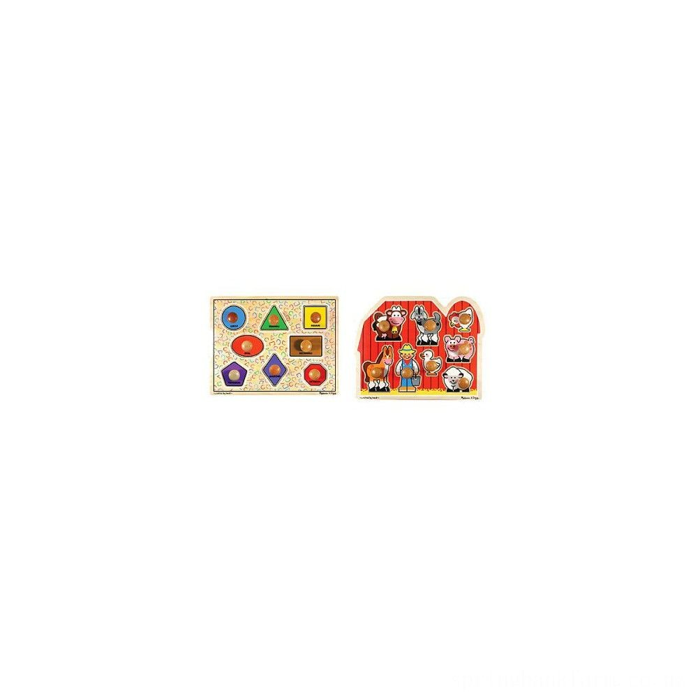 Melissa & Doug Jumbo Knob Wooden Puzzles - Shapes and Farm Animals 2pc Deal