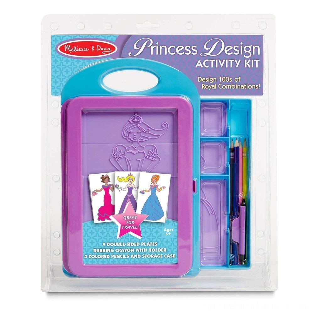 Melissa & Doug Princess Design Activity Kit - 9 Double-Sided Plates, 4 Colored Pencils, Rubbing Crayon Deal