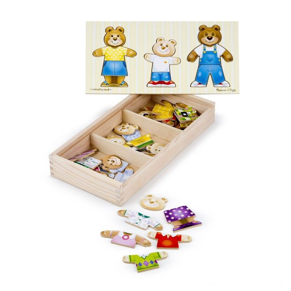 Melissa & Doug Mix 'n Match Wooden Bear Family Dress-Up Puzzle With Storage Case (45pc) Deal