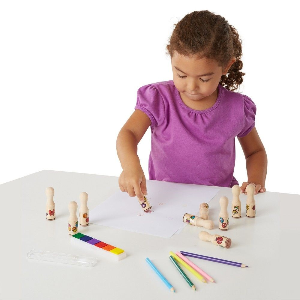 Melissa & Doug Deluxe Happy Handle Stamp Set With 10 Stamps, 5 Colored Pencils, and 6-Color Washable Ink Pad Deal
