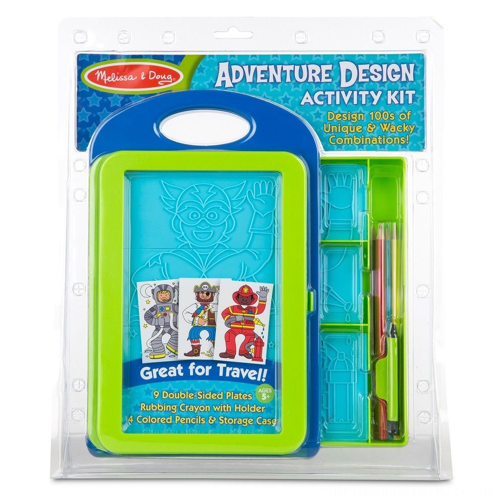 Melissa & Doug Adventure Design Activity Kit: 9 Double-Sided Plates, 4 Colored Pencils, Crayon Deal