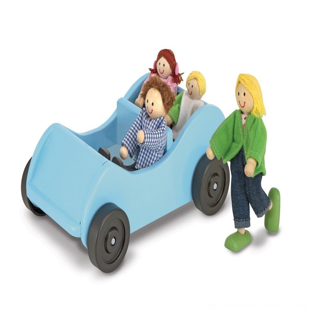 Melissa & Doug Road Trip Wooden Toy Car and 4 Poseable Dolls (4-5 inches each) Deal