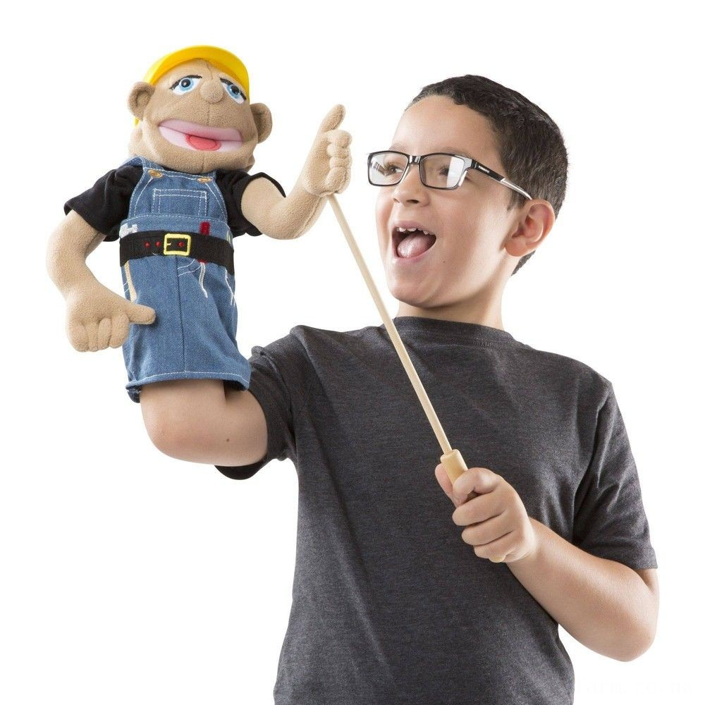 Melissa & Doug Construction Worker Puppet With Detachable Wooden Rod for Animated Gestures Deal