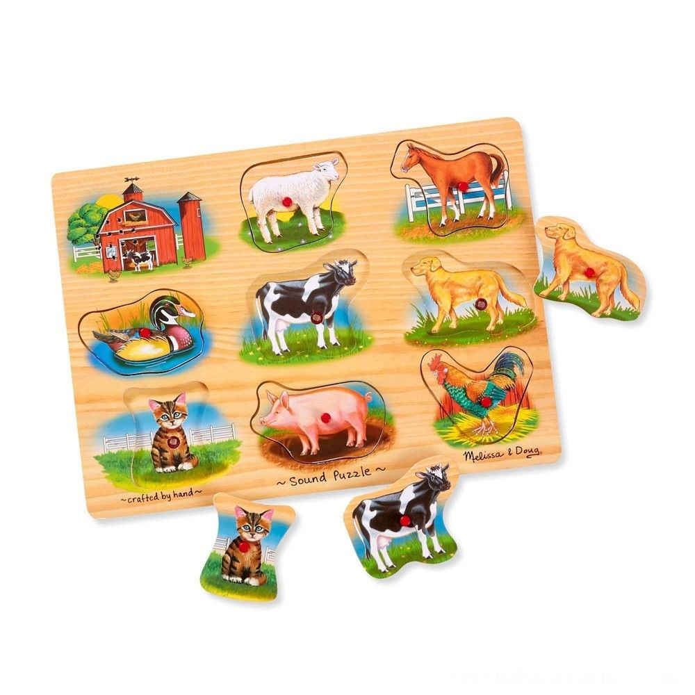 Melissa And Doug Farm Wooden Peg Sound Puzzle 8pc Deal