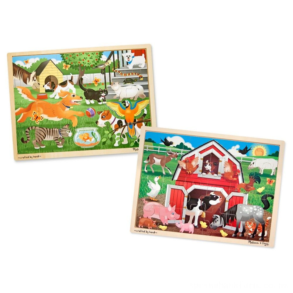 Melissa & Doug Animals Wooden Jigsaw Puzzle Sets - Pets and Farm 24pc each, 48pc Deal