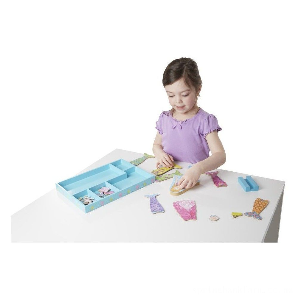Melissa & Doug Merry Mermaid Wooden Dress-Up Doll and Stand - 35 Magnetic Accessories Deal
