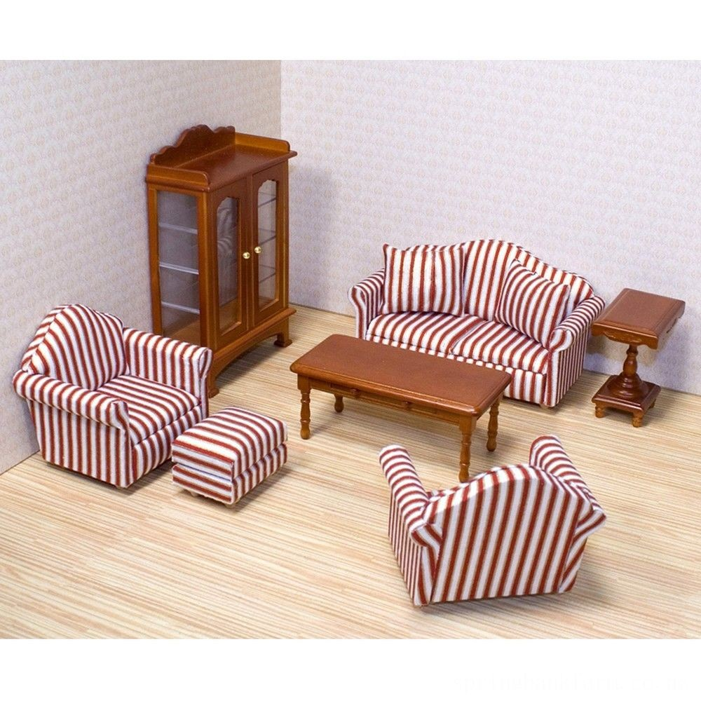 Melissa & Doug Classic Victorian Wooden and Upholstered Dollhouse Living Room Furniture (9pc) Deal
