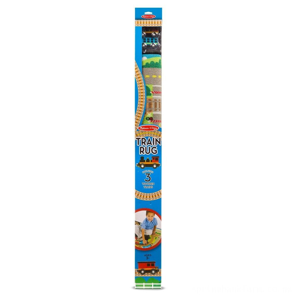 Melissa & Doug Round the Rails Train Rug With 3 Linking Wooden Train Cars (39 x 36 inches) Deal