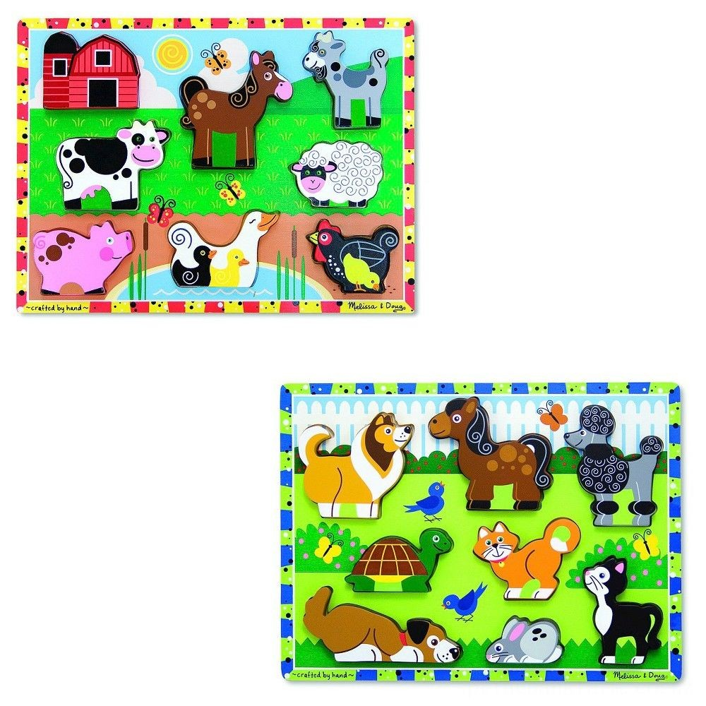Melissa & Doug Wooden Chunky Puzzles Set - Farm and Pets 16pc Deal