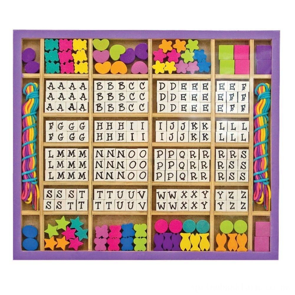 Melissa & Doug Deluxe Wooden Stringing Beads With 200+ Beads and 8 Laces for Jewelry-Making Deal